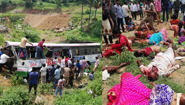 45 killed as bus falls into gorge in Telangana