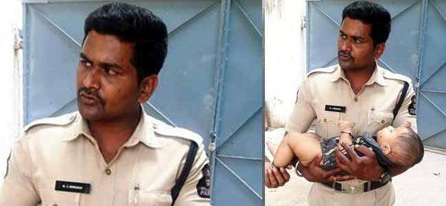 Hyderabad Cops console baby while mother takes Group IV exam