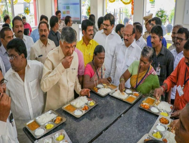 CM Chandrababu Naidu launches 60 'Anna Canteens' across Andhra