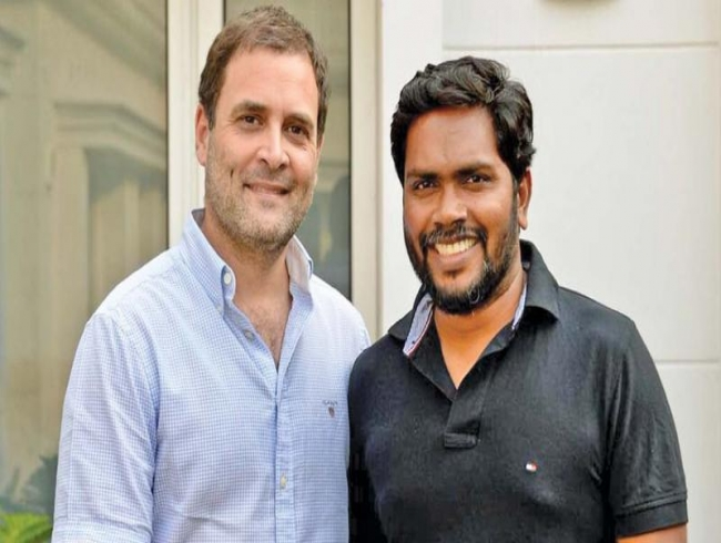 Pa Ranjith discusses politics with Rahul Gandhi