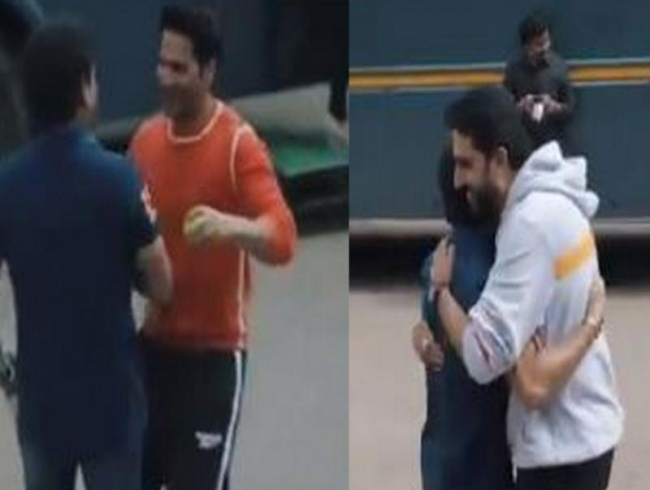 Watch: Varun Dhawan, Abhishek Bachchan play gully cricket with Sachin Tendulkar