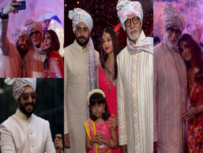 Big B, Aishwarya, Abhishek, Aaradhya look the perfect baarati at a family wedding