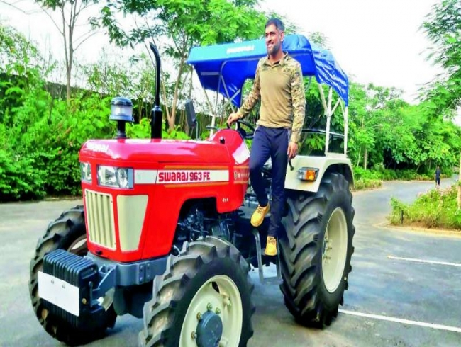 Dhoni's latest buy, a tractor!