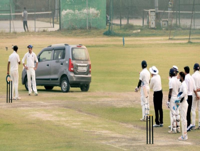 Car on cricket pitch! Ishant Sharma 'shocked' during Delhi-UP Ranji Trophy Palam game